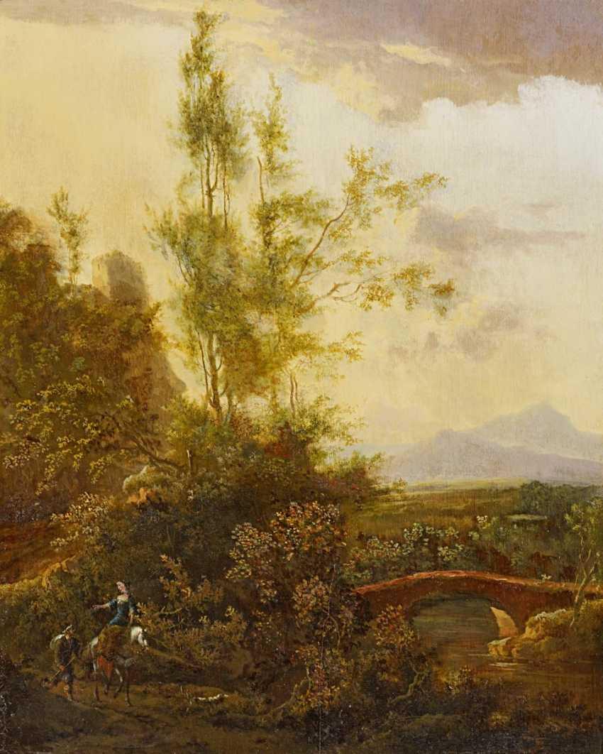 Moucheron, Frederic de. Wide, mountainous landscape with travellers. - photo 1
