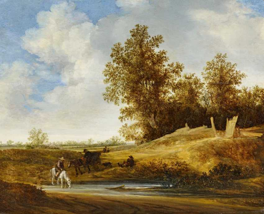 Moscher, Jacob van. River landscape with horsemen at the foot of a forest piece. - photo 1