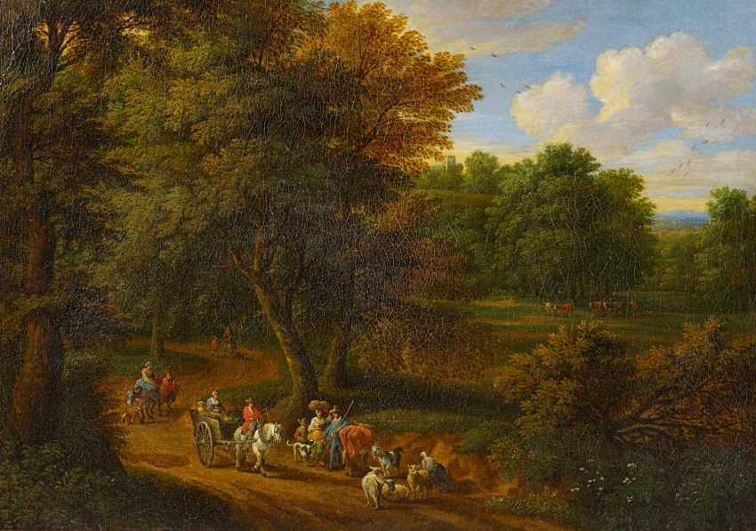 Boudewyns, Adriaen Frans. Park landscape with a horse cart. - photo 1