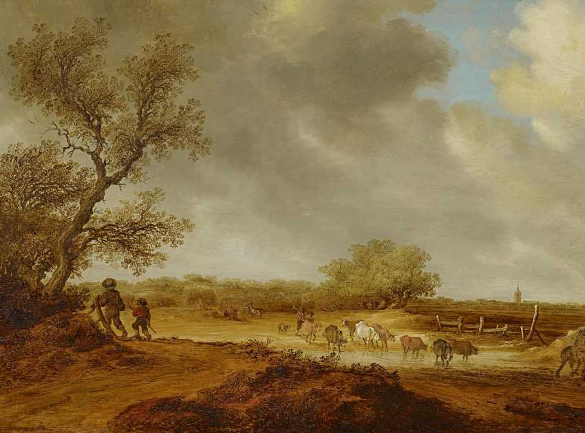 Ruysdael, Salomon van. Landscape with cows. - photo 1