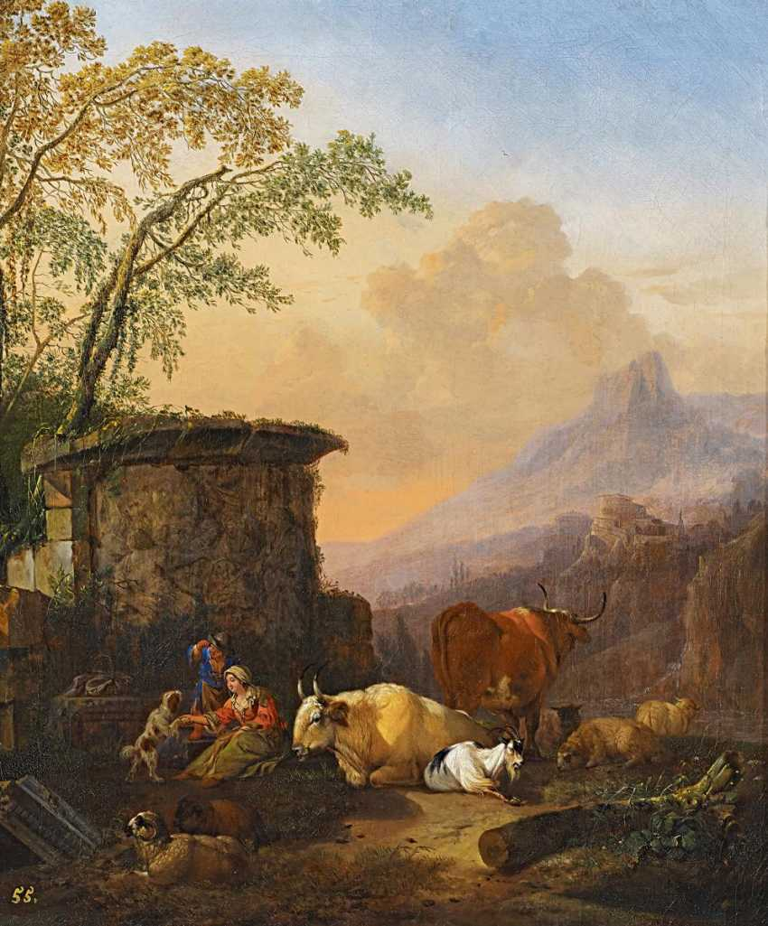 Roos, Johann Heinrich. Italian landscape with shepherds and cattle. - photo 1