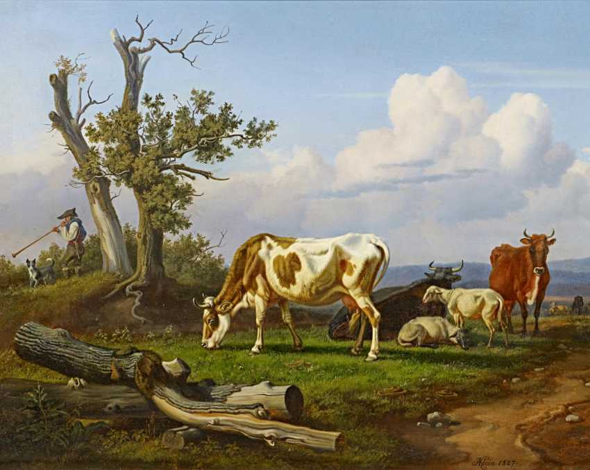 Klein, Johann Adam. Cows in the pasture. - photo 1