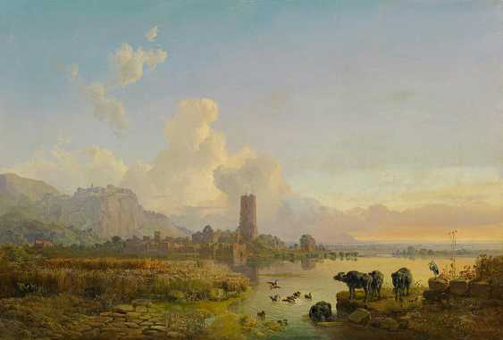 Bürkel, Heinrich. Campagna landscape with water Buffalo. - photo 1