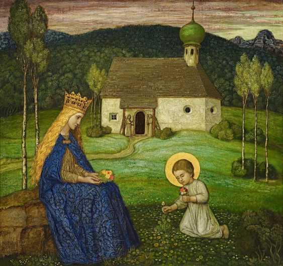 Schiestl, Matthäus. Mary with the child Jesus in the chapel. - photo 1