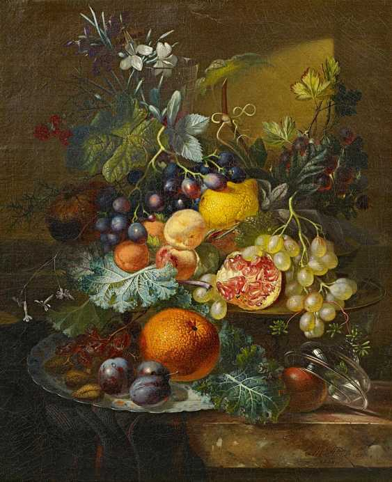 Steenbergen, Albert. Fruit still life with grapes, Orange, lemon and pomegranate on a marble table top. - photo 1