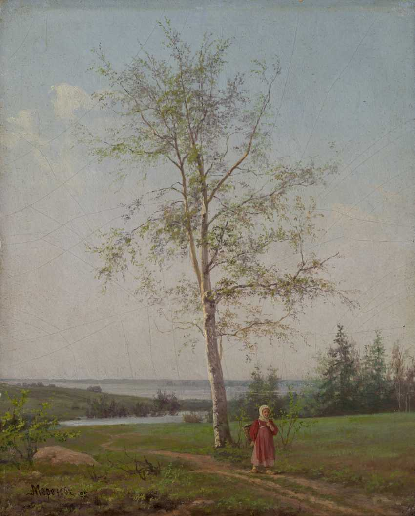 MOROZOV, ALEXANDER (1835-1904) Girl by a Birch Tree , signed and dated 1895. - photo 1