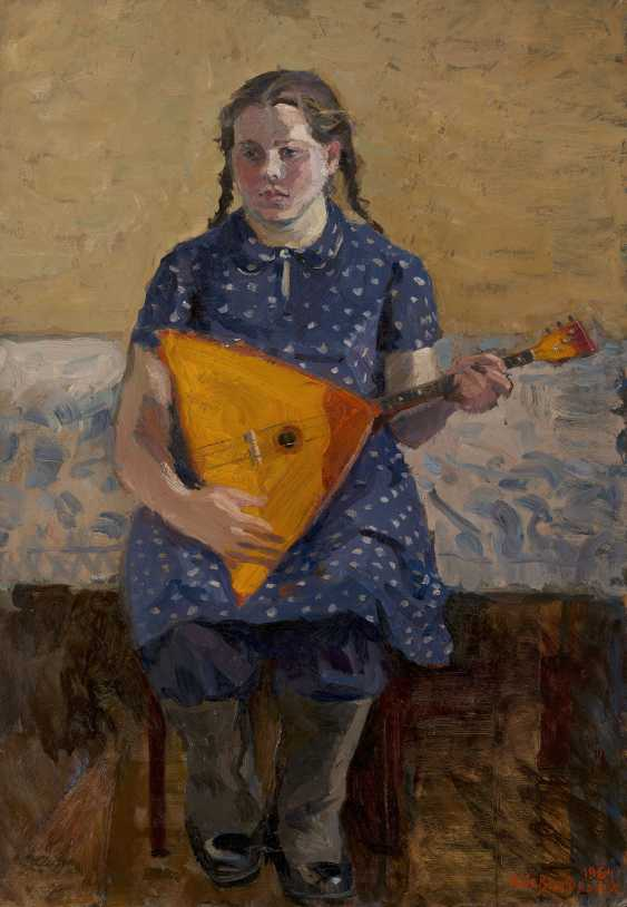 SHEVANDRONOVA, IRINA (1928-1993) Girl with Balalaika , signed and dated 1964, also further signed, titled in Cyrillic, dated and with a pencil drawing of a cart on the reverse. - photo 1