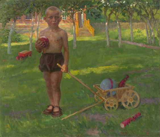 VLADIMIRSKY, BORIS (1878-1950) Boy with a Toy Wagon  - photo 1