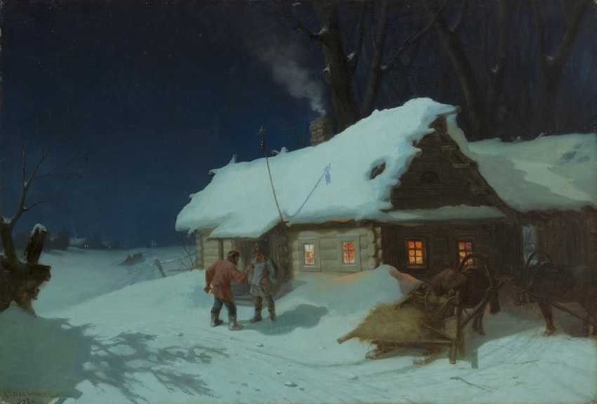SOLOMATKIN, LEONID (1837-1883) Night Scene near a Tavern , signed and dated 1872. - photo 1
