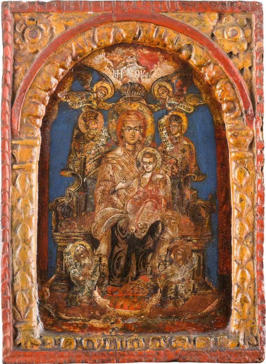 ICON WITH THE ENTHRONED MOTHER OF GOD - photo 1