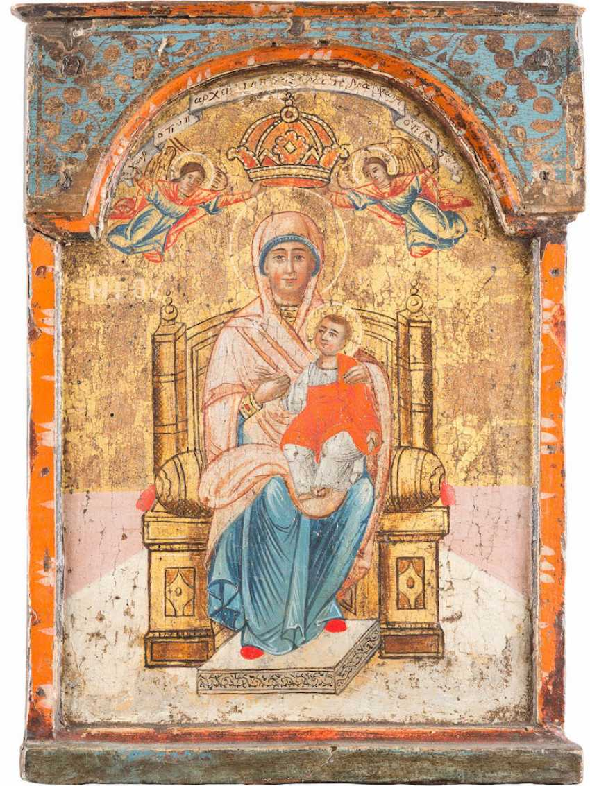 THE MIDDLE PART OF A TRIPTYCH WITH THE ENTHRONED MOTHER OF GOD - photo 1