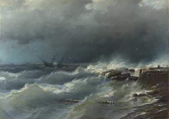 SUDKOVSKY, RUFIN (1850-1885) Storm near Odessa , signed and dated 1881. - photo 1