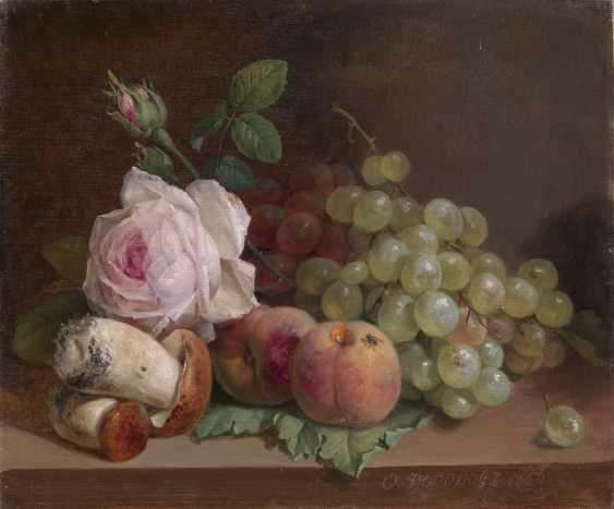 TOROPOV, FOMA (1821-1898) Still Life with Roses and Mushrooms , signed and dated 1886. - photo 1