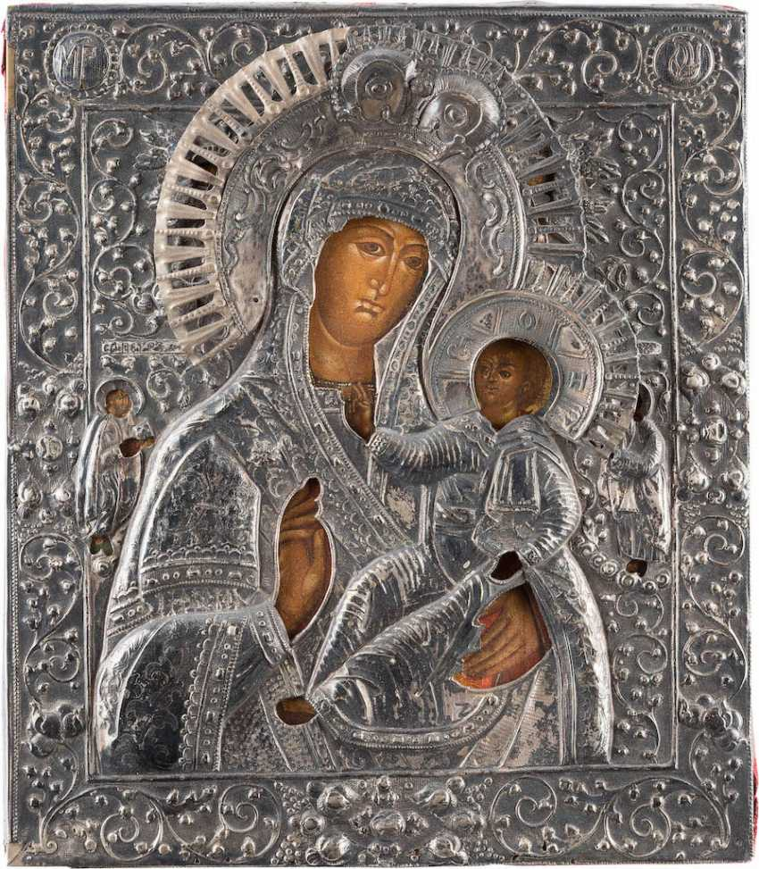 LARGE ICON OF THE MOTHER OF GOD 'DELIGHT IN THE SUFFERING' WITH SILVER OKLAD - photo 1
