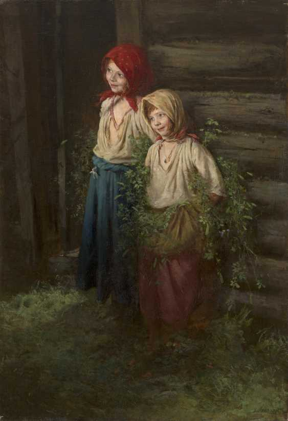 LEMOKH, KIRILL (1841-1910) Little Schemers , signed and dated 1892. - photo 1