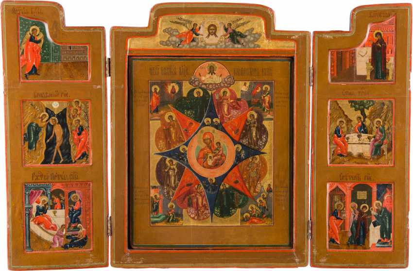 LARGE TRIPTYCH WITH THE MOTHER OF GOD 'NON-COMBUSTIBLE BUSH' WITH THE ANNUNCIATION AND THE FEAST DAYS - photo 1