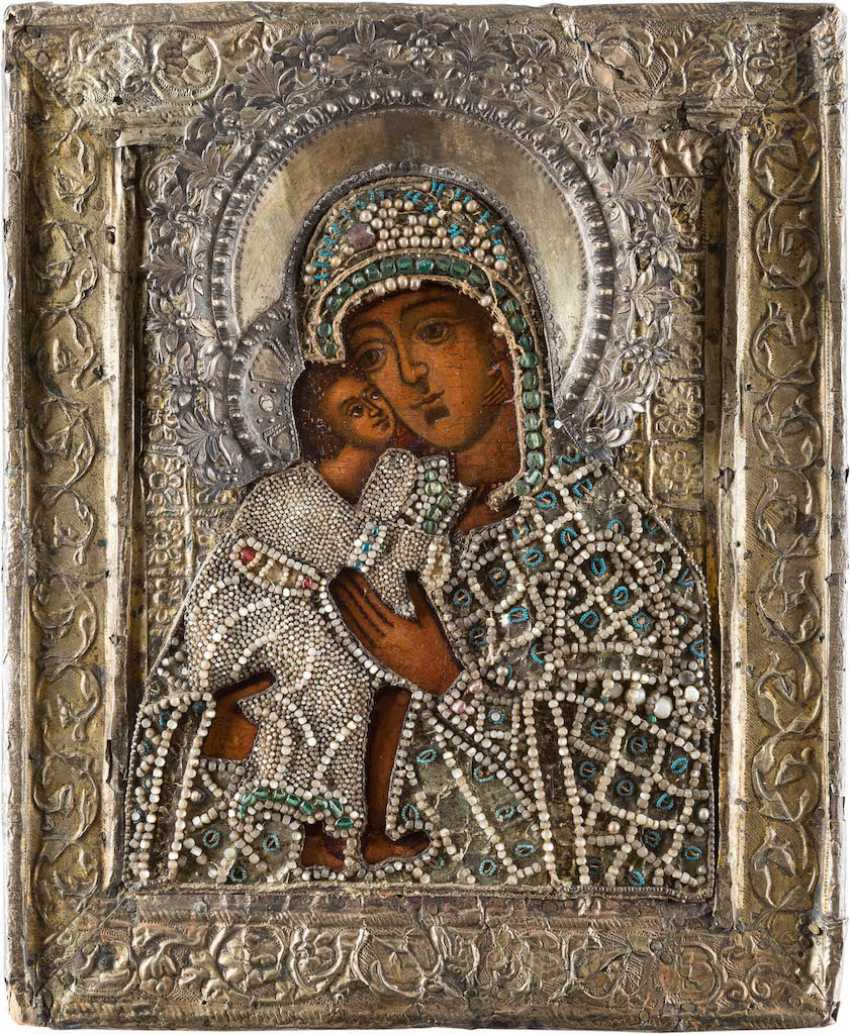 ICON OF THE MOTHER OF GOD OF FEODOR (FEODOROWSAKAJ) WITH VERMEIL AND PERLOKLAD - photo 1