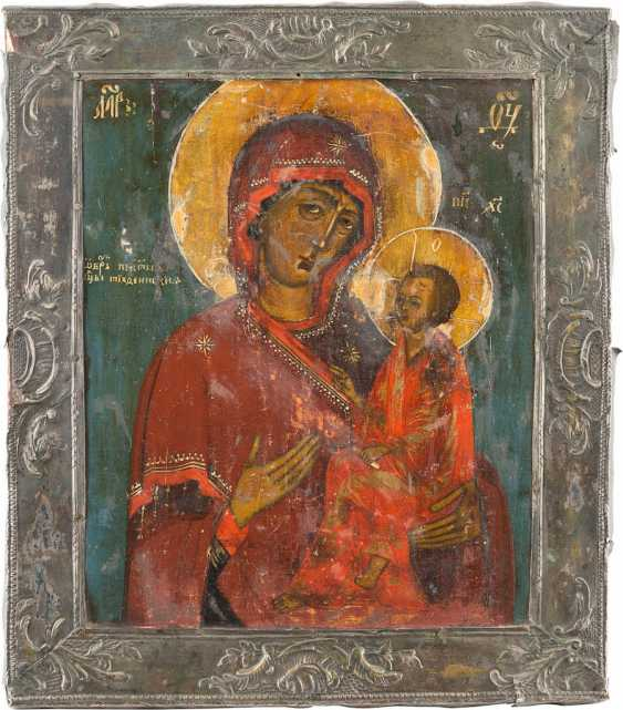 ICON OF THE MOTHER OF GOD OF TIKHVIN (TICHWINSKAJA) WITH SILVER BASMA - photo 1