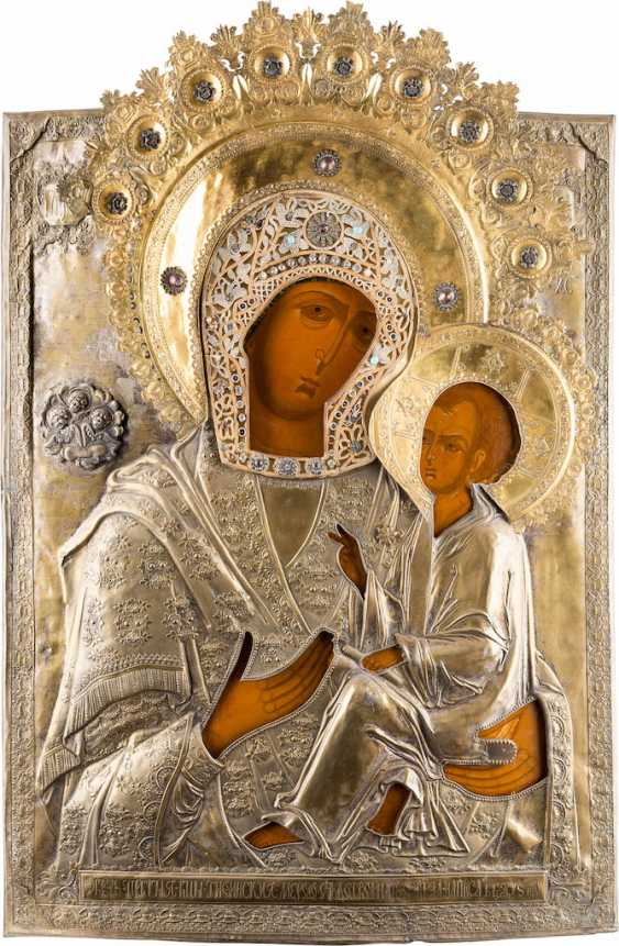 MONUMENTAL, DATED ICON OF THE MOTHER OF GOD OF TIKHVIN (TICHWINSKAJA) WITH OKLAD FROM A CHURCH ICONOSTASIS - photo 1