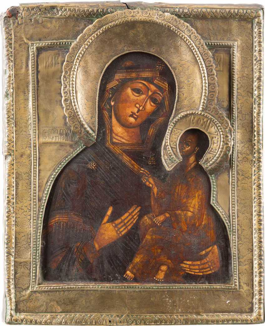 ICON OF THE MOTHER OF GOD OF TIKHVIN (TICHWINSKAJA) WITH RIZA - photo 1