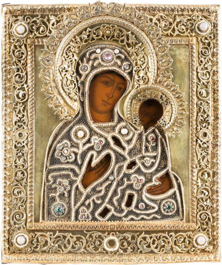 ICON OF THE MOTHER OF GOD OF TIKHVIN (TICHWINSKAJA) WITH PEARL-OKLAD - photo 1