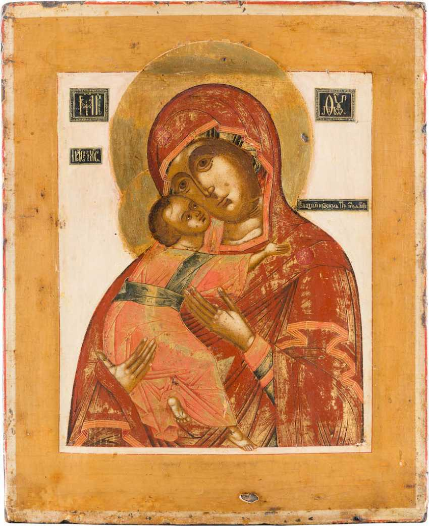 A FINE ICON OF THE MOTHER OF GOD OF VLADIMIR (VLADIMIRSKAYA) - photo 1