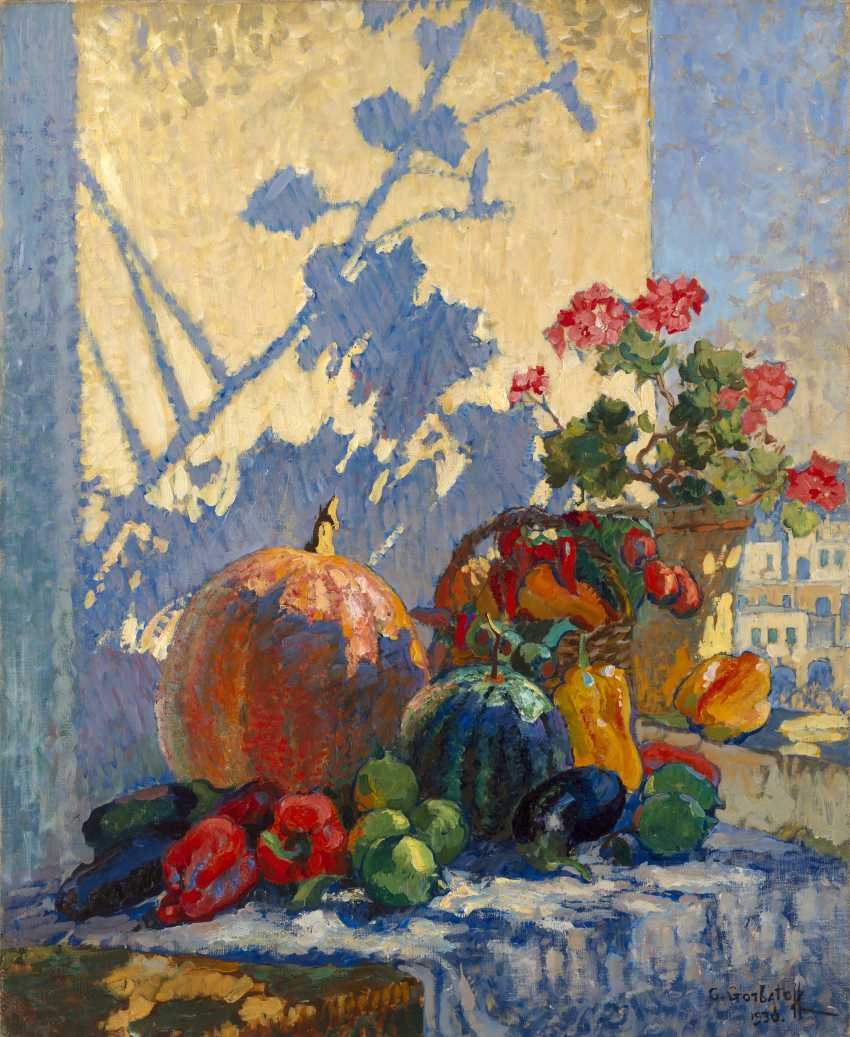 """GORBATOV, KONSTANTIN (1876-1945) Still Life. Capri , signed and dated 1930, also further signed, titled twice and numbered """"I"""" on the reverse. - photo 1"""