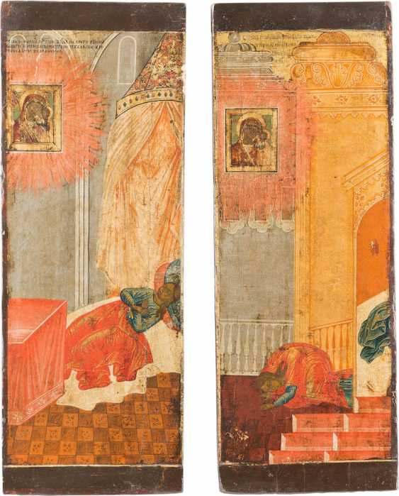 TWO LARGE ICONS-FRAGMENTS OF A VITA ICON OF THE MOTHER OF GOD OF KAZAN - photo 1