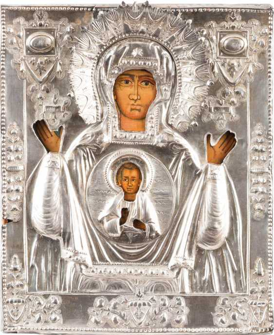 ICON OF THE MOTHER OF GOD OF THE SIGN (ZNAMENIE) WITH VERMEIL-OKLAD - photo 1