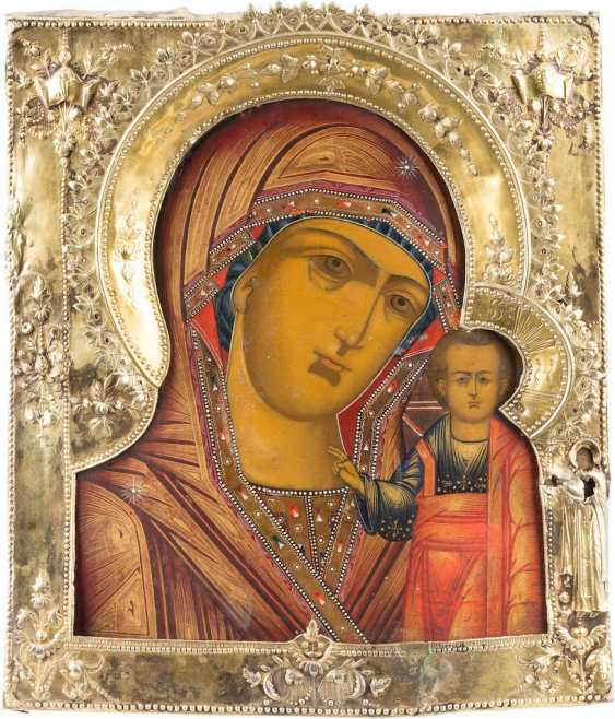 ICON OF THE MOTHER OF GOD OF KAZAN (KAZANSKAYA) WITH VERMEIL-RIZA - photo 1
