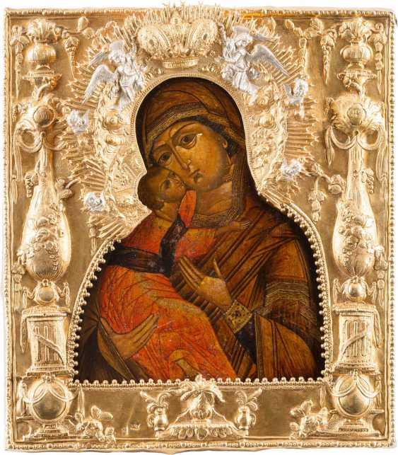 ICON OF THE MOTHER OF GOD OF VLADIMIR (VLADIMIRSKAYA) WITH VERMEIL-RIZA - photo 1