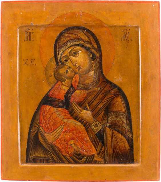 ICON OF THE MOTHER OF GOD OF VLADIMIR (VLADIMIRSKAYA) WITH VERMEIL-RIZA - photo 2