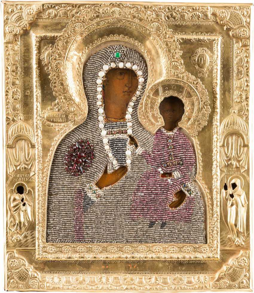 ICON OF THE MOTHER OF GOD OF SMOLENSK (SMOLENSKAYA) WITH PEARL-OKLAD - photo 1