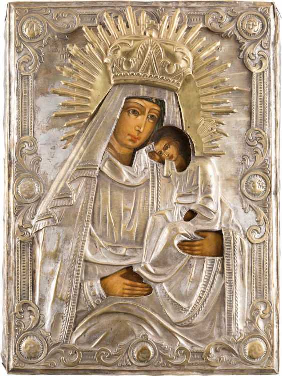ICON OF THE MOTHER OF GOD 'DELIGHT IN THE SUFFERING' WITH BRASS OKLAD - photo 1