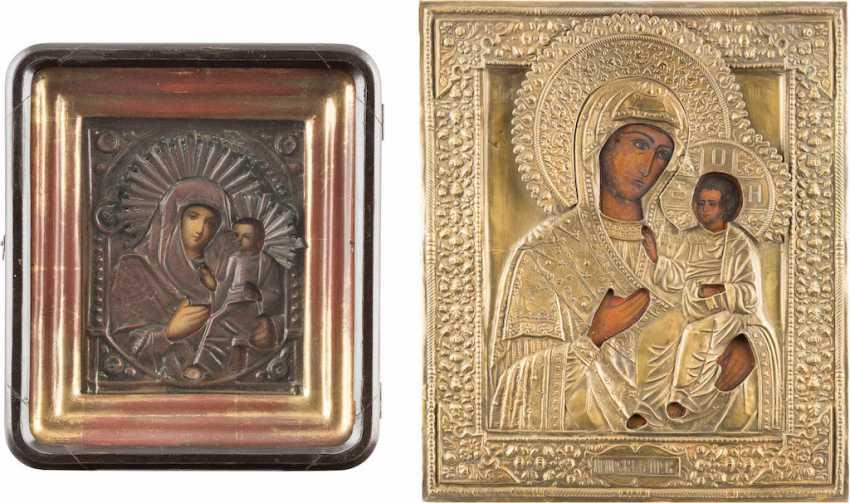 TWO ICONS: MOTHER OF GOD IWERSKAJA WITH OKLAD MOTHER OF GOD AND OF TICHWINSKAJA WITH OKLAD IN THE ICON CASE - photo 1