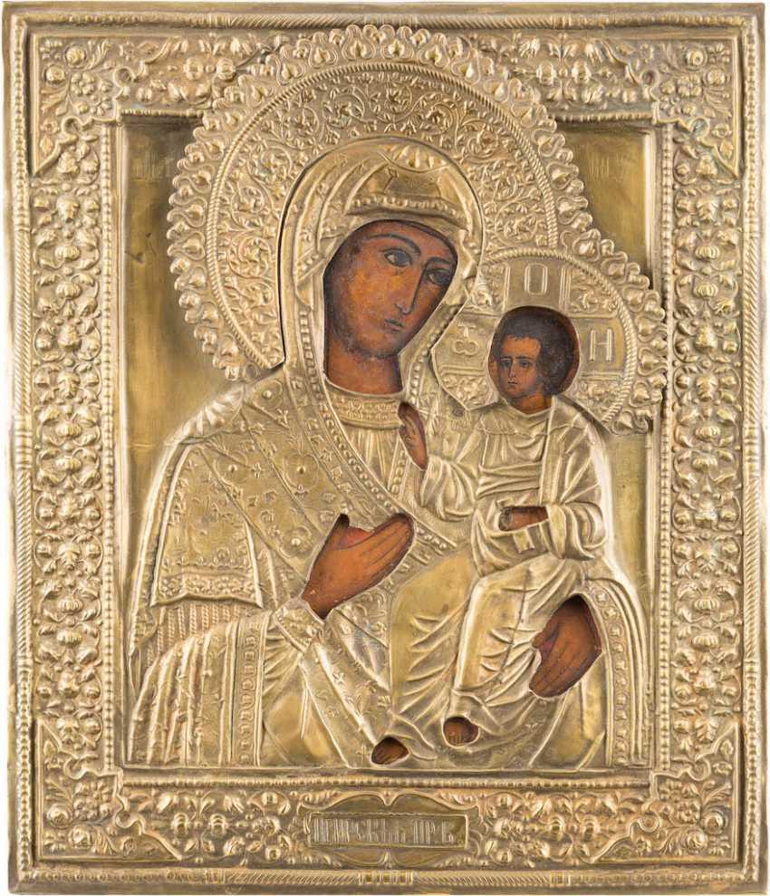 TWO ICONS: MOTHER OF GOD IWERSKAJA WITH OKLAD MOTHER OF GOD AND OF TICHWINSKAJA WITH OKLAD IN THE ICON CASE - photo 3