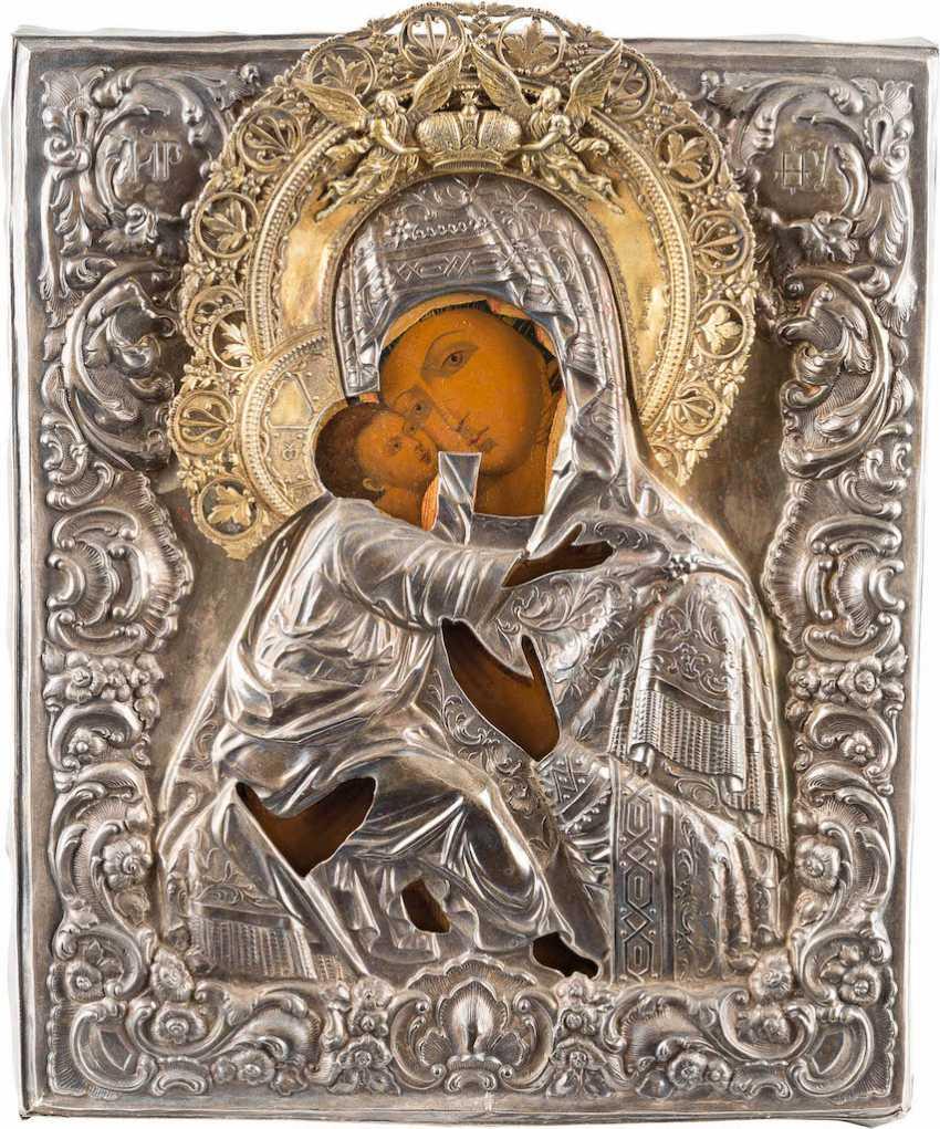 ICON OF THE MOTHER OF GOD OF VLADIMIR (VLADIMIRSKAYA) WITH SILVER OKLAD - photo 1