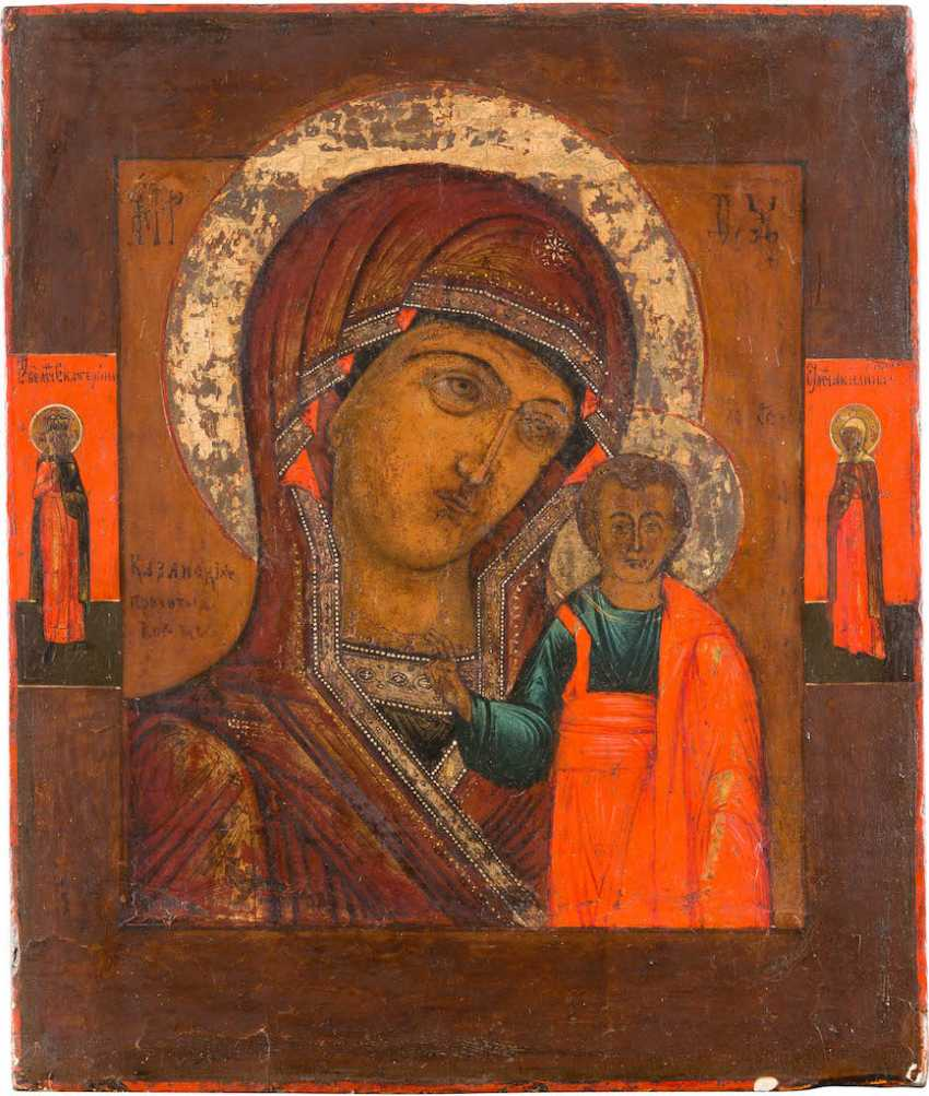 ICON OF THE MOTHER OF GOD OF KAZAN AND TWO BORDER SAINTS - photo 1