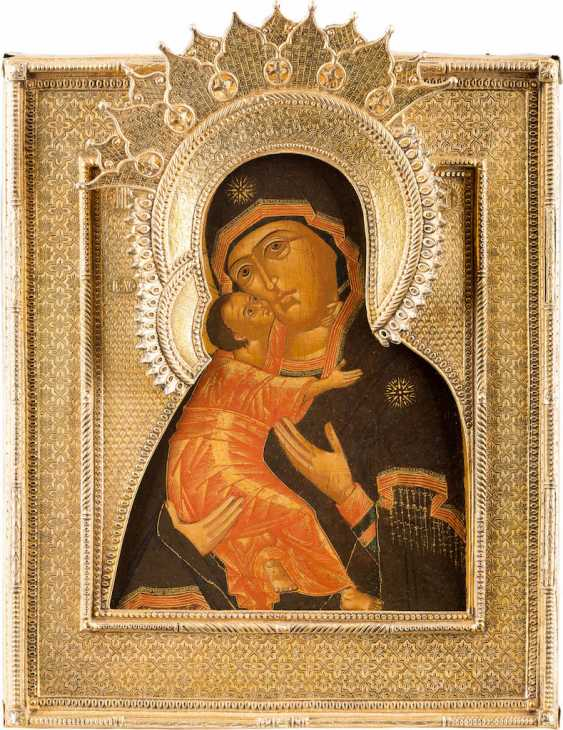 ICON OF THE MOTHER OF GOD OF VLADIMIR (VLADIMIRSKAYA) WITH VERMEIL-RIZA - photo 1