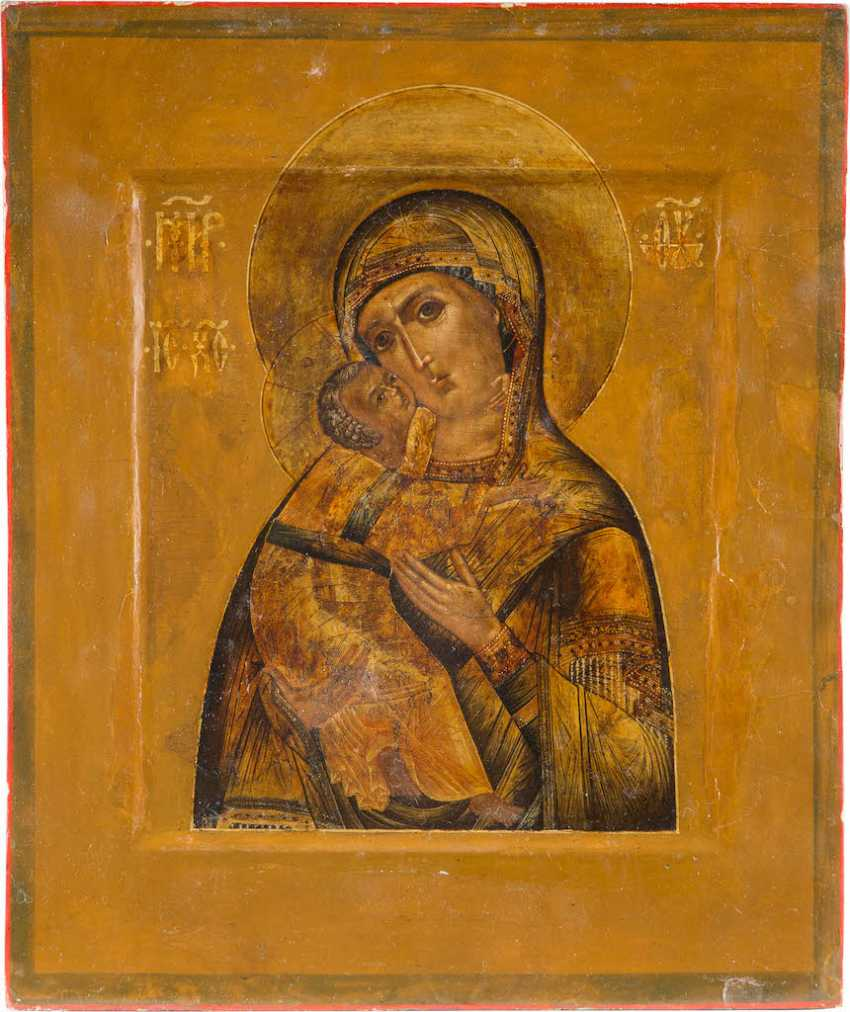 VERY FINE ICON OF THE MOTHER OF GOD OF VLADIMIR WITH PEARL AND CLOISONN ENAMEL OKLAD - photo 2