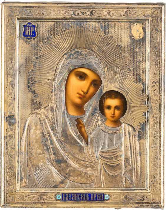 SMALL ICON OF MOTHER OF GOD OF KAZAN (KAZANSKAYA) WITH ENAMELED VERMEIL-OKLAD - photo 1