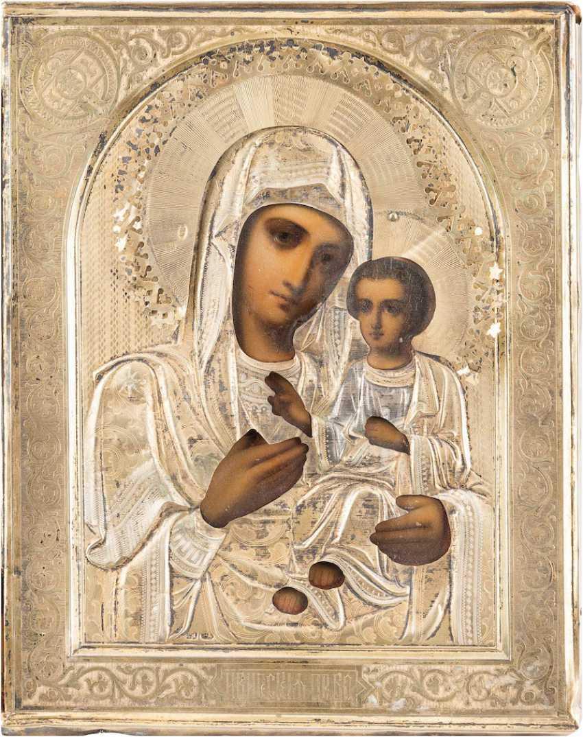 SMALL ICON OF THE MOTHER OF GOD 'IWERSKAJA' VERMEIL-OKLAD - photo 1