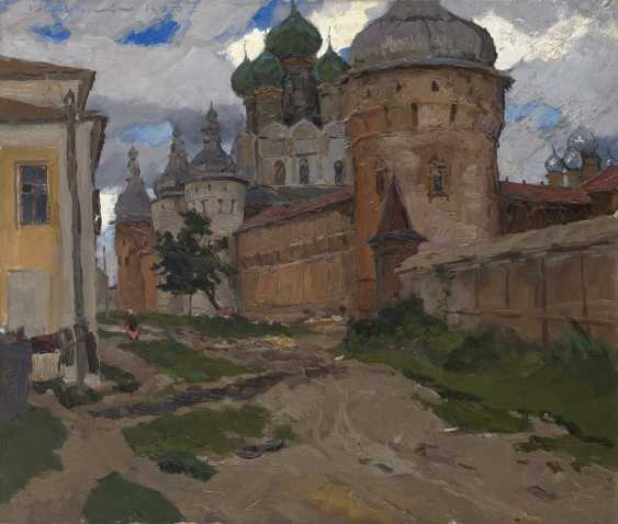 """STOZHAROV, VLADIMIR (1926-1973) Kremlin, Corner Tower. Rostov Yaroslavsky , titled in Cyrillic and dated """"14, 8 56"""", also further signed and titled on the stretcher. - photo 1"""