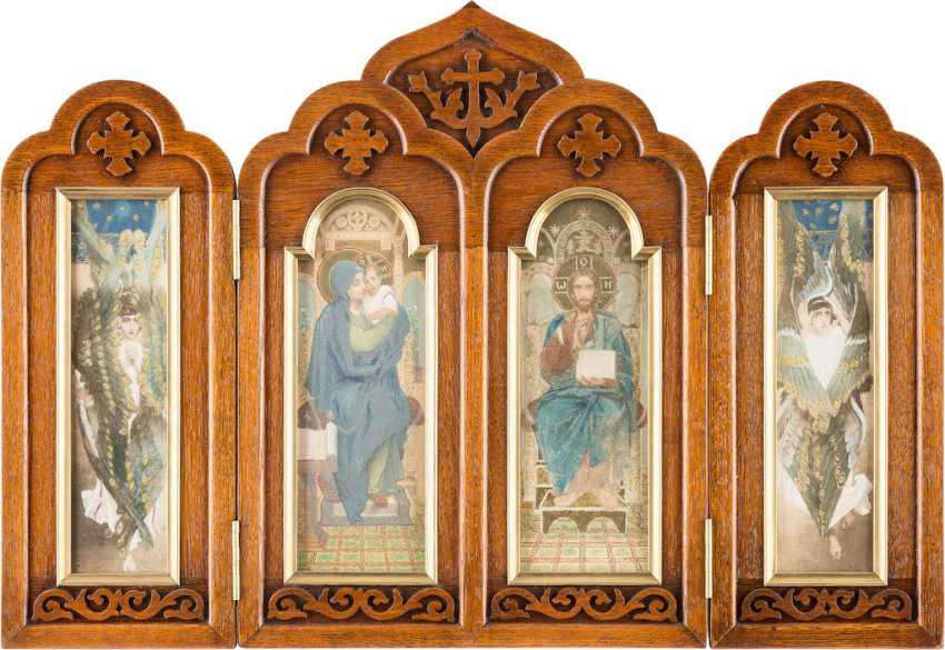 VIKTOR VASNETSOV 1848 - 1926 (the successor of) TRIPTYCH WITH THE mother of GOD, CHRIST PANTOCRATOR, AND TWO SERAPHIM - photo 1