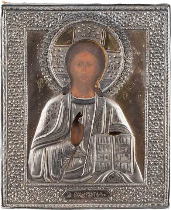 ICON WITH CHRIST PANTOKRATOR WITH SILVER OKLAD - photo 1