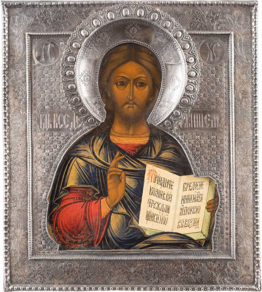 ICON WITH CHRIST PANTOCRATOR WITH SILVER RIZA - photo 1