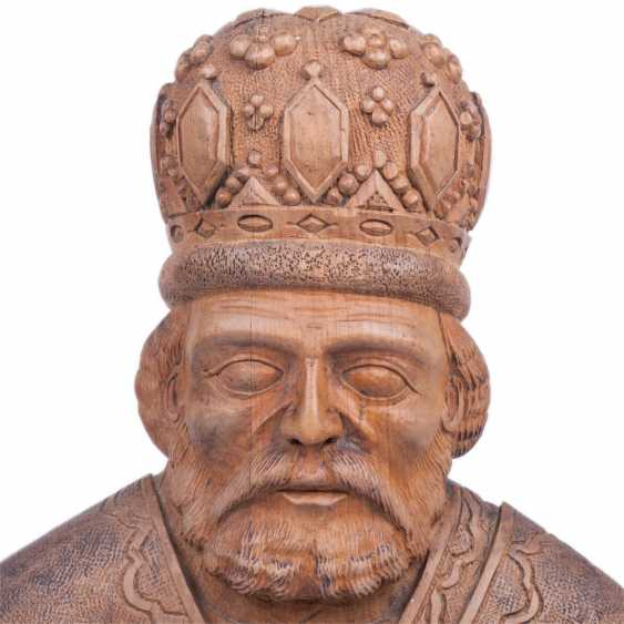 A carved figure of St. Nicholas - photo 3