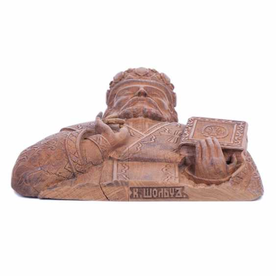 A carved figure of St. Nicholas - photo 6