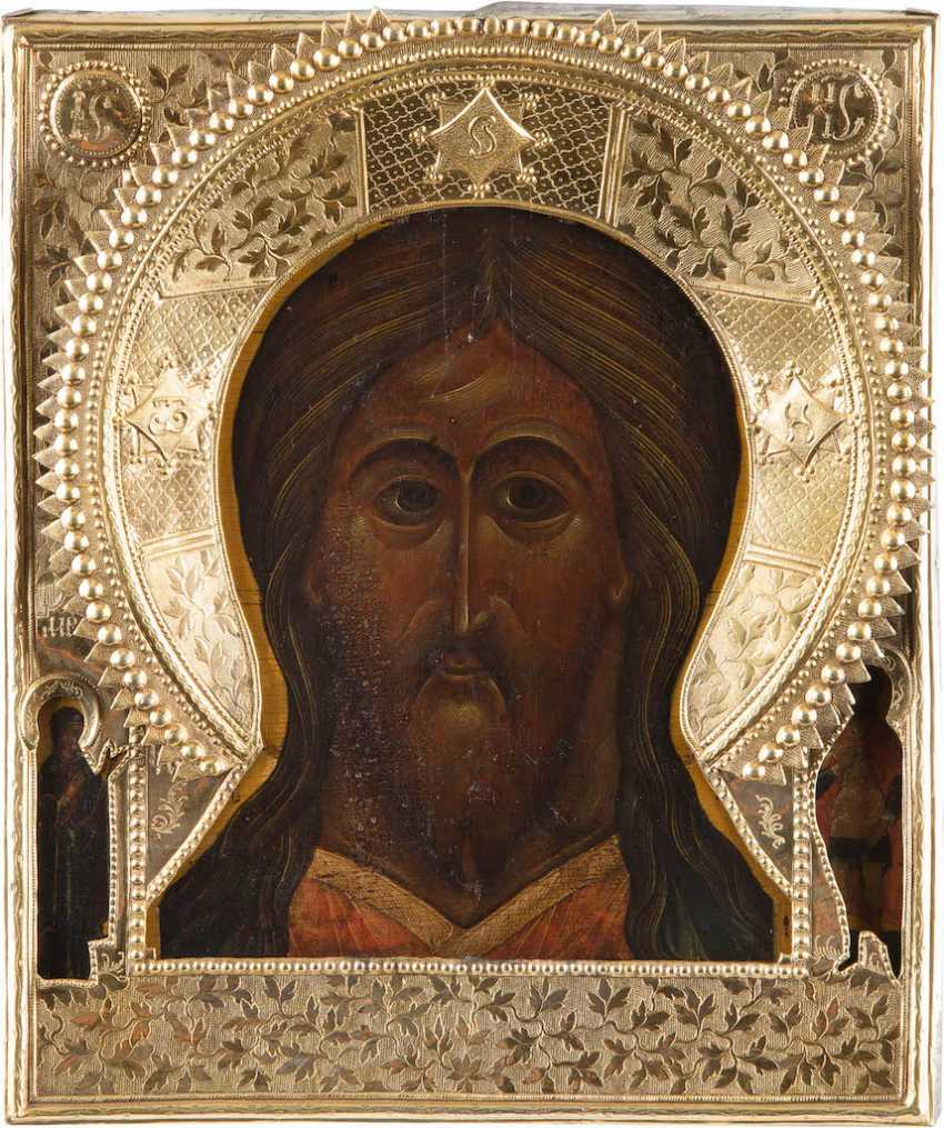 LARGE ICON OF CHRIST THE ALMIGHTY WITH VERMEIL-RIZA - photo 1