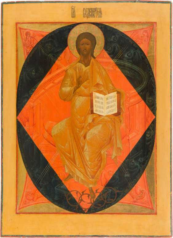 A MONUMENTAL ICON WITH THE ENTHRONED CHRIST, FROM A CHURCH ICONOSTASIS - photo 1